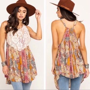NEW Free People Count Me In Lace Tunic Top XS